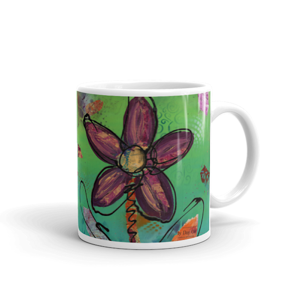 Mare's Mugs - ceramic 11 oz coffee mugs printed with bright and colorful Mare's art artwork of Playful Flower