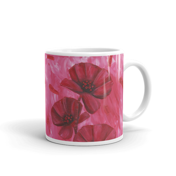 Mare's Mugs - ceramic coffee mug printed with bright and colorful Mare's art artwork of Poppy Love.