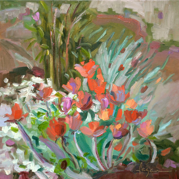 Colorful Coral Tulips Painting Art Print, Resurrection Tulips by Dorothy Fagan