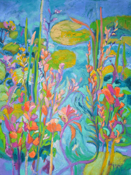 Stunning Abstract Floral Water Garden Art Print on Canvas, Lily Pond of My Own by Dorothy Fagan