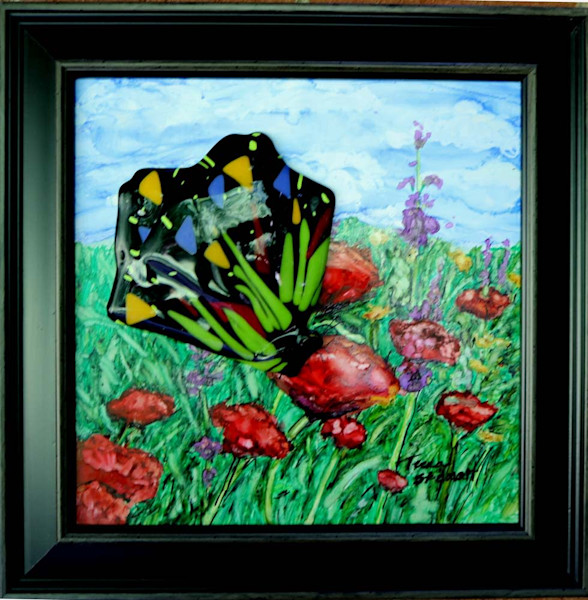 Butterfly and Poppies, Original Painting of a Butterfly, Fine Art and Paintings for Sale by Teena Stewart of Serendipitini Studio