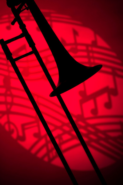 Trombone Silhouette on Red Music 2608.40
