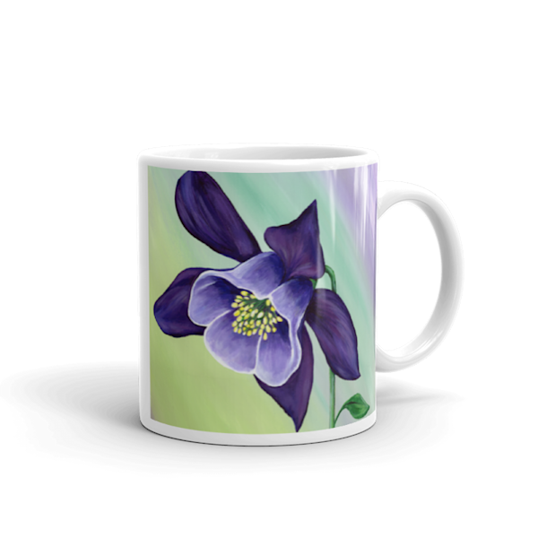 Mare's Mugs - ceramic coffee mug printed with bright and colorful Mare's art artwork of Graceful Columbine.