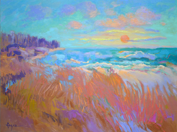 Large Coastal Marsh Beach Oil Painting, Blessed by Dorothy Fagan