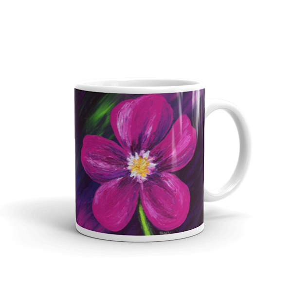Mare's Mugs - ceramic coffee mug printed with bright and colorful Mare's art artwork of Pink Love