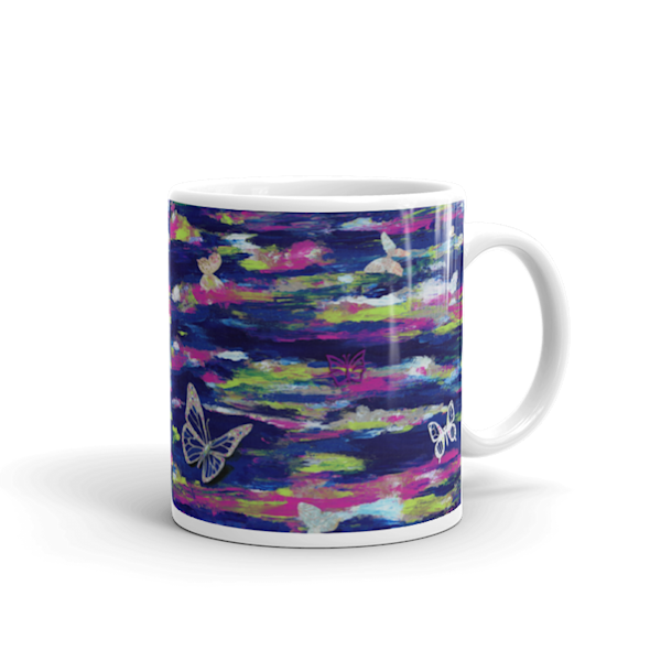 Mare's Mugs - ceramic coffee mug printed with bright and colorful Mare's art artwork of Metamorphosis