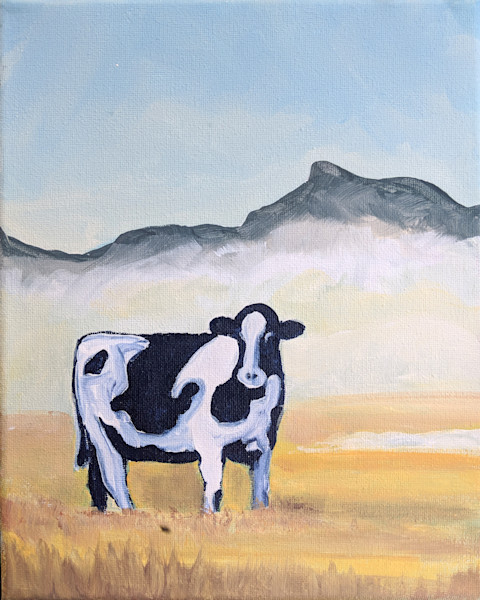 """Paint Night at Bolton Valley of """"Cow in the Mist"""""""