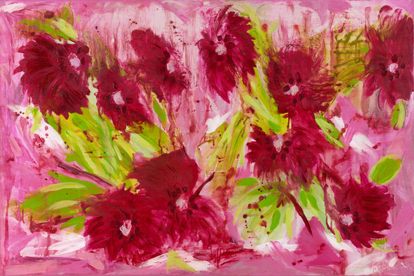 caroline pyle, abstract art Passionate Peonies