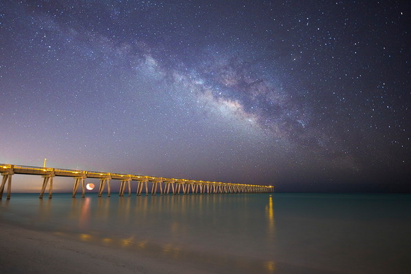 Fine Art Photo of the Milky Way over the Navarre Beach Pier | Waldorff Photography