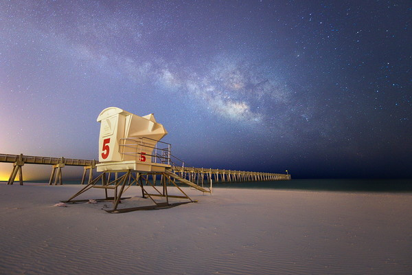 Fine Art Photo of the Milky Way over the Pensacola Beach Pier | Waldorff Photography