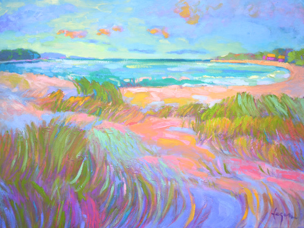 Beautiful Beach Painting, Sparkling Cove Art Print on Canvas by Dorothy Fagan