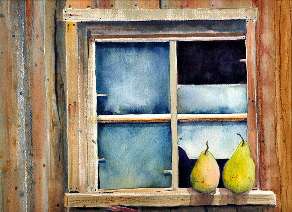 Old Window on the Barn with Pears