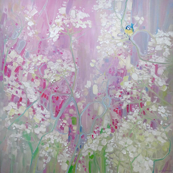A Moment In May - Landscape Painting With Wild Flowers And Bird