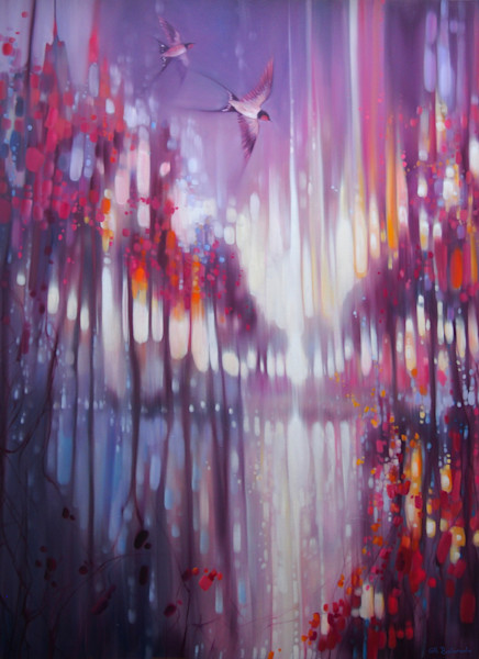 A Beautiful Truth - an abstract Winter landscape with swallows