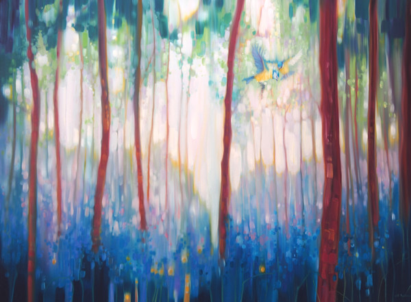 Jubilant Spring - a forest landscape with blue tits and bluebells