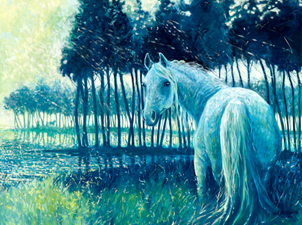 Blue Mare - painting of a horse at sunrise