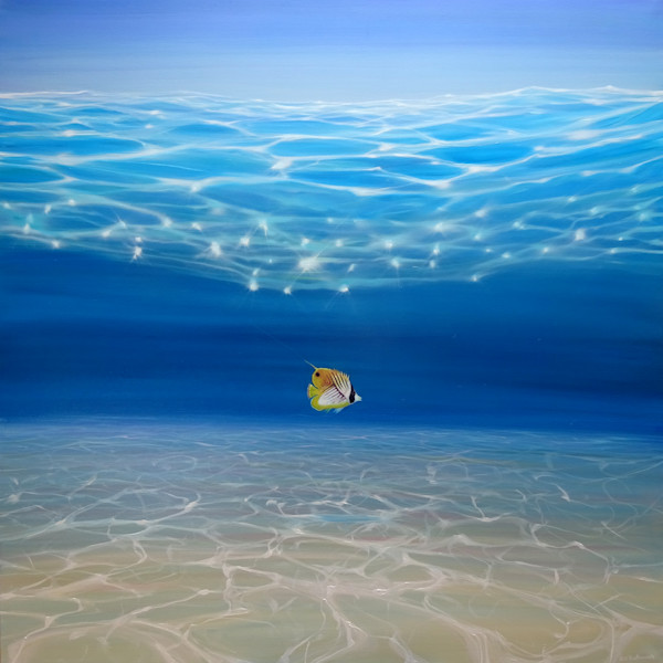 Solo in the Turquoise Sea - an Underwater Seascape with threadfin butterfly fish