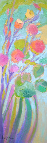 Tall Narrow Flower Painting, Stand Tall & Bloom by Dorothy Fagan