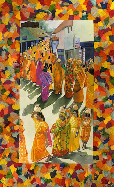 Women in Saffron with Jugs of Water