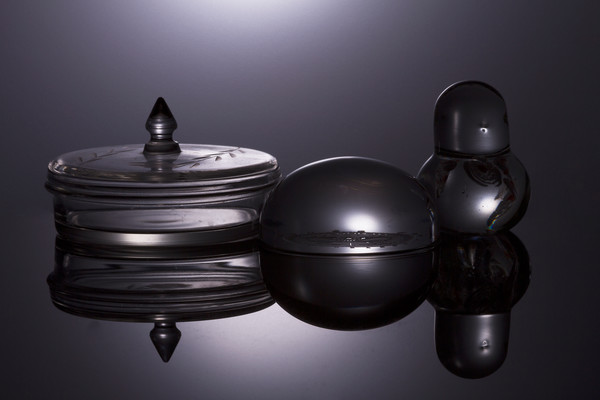 Fine Art Photographs of Black Plexi Reflections of Glass Ornaments by Michael Pucciarelli