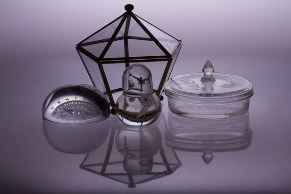Fine Art Photographs of White Plexi Reflections of Glass Ornaments by Michael Pucciarelli