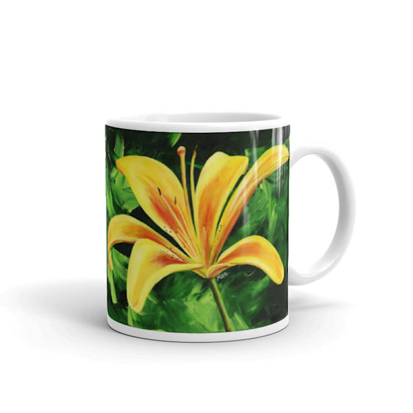 Mare's Mugs - ceramic coffee mug printed with bright and colorful Mare's art artwork of Day Lily