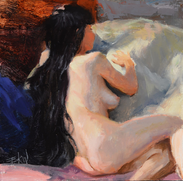 """""""Pillow Talk"""" 6x6in. oil on panel by Eric Wallis."""