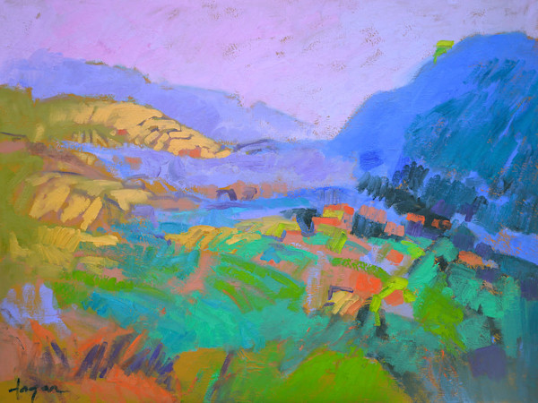 Bold Color Abstract Mountain Landscape Original Oil Painting, Awakening by Dorothy Fagan