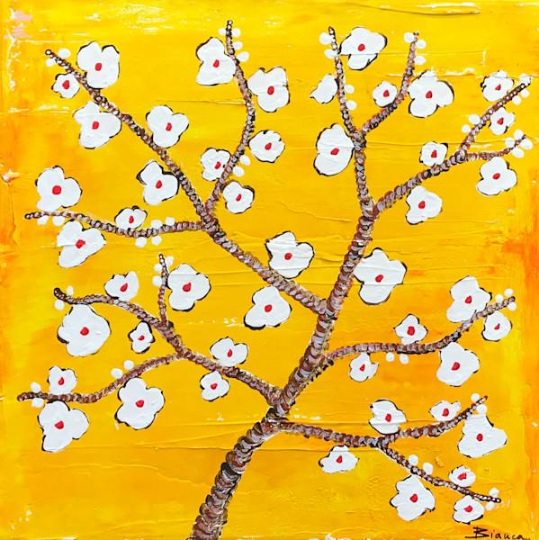 Almond Blossoms Yellow by Bianca De Navarro Cubric   SavvyArt Market Original Abstract Painting