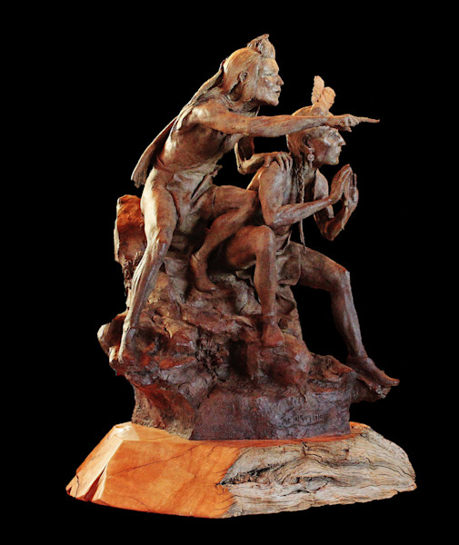Native American Bronze Sculpture - The Talking Glass