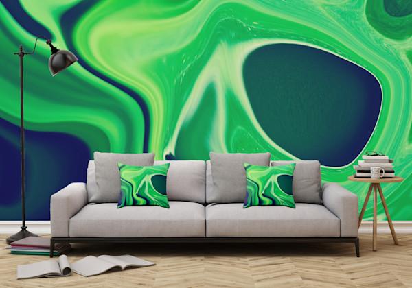 Harmonious Greens  Abstract Art, Digital Fluid Artwork - Decorative Wall Mural