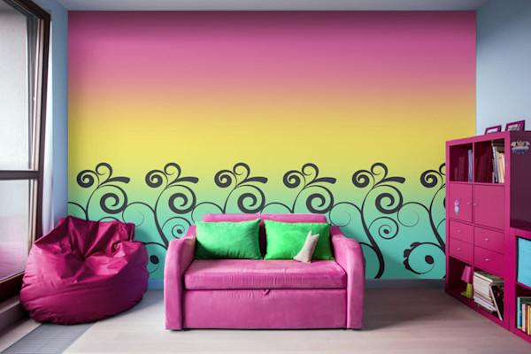 Misty Rainbow Swirl Illustration Abstract Art, Digital Artwork - Decorative Wall Mural