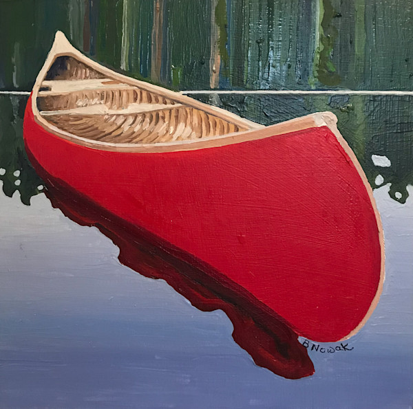 Red Canoe - Small II by Brigitte Nowak | SavvyArt Market original oil painting