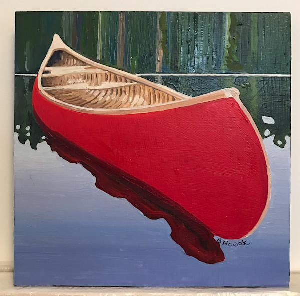 Red Canoe - Small II by Brigitte Nowak | SavvyArt Market original oil painting
