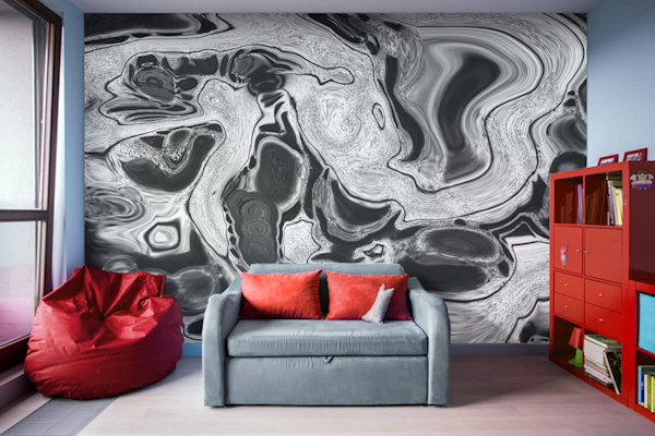Dirty Paint Pour Digital Fluid Art Illustration Abstract Art, Digital Artwork - Decorative Wall Mural