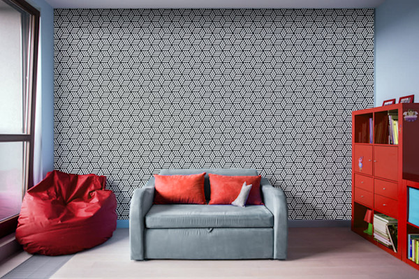 Isometric Weaved Cubes in Black and White Illustration Abstract Art, Digital Artwork - Decorative Wall Mural
