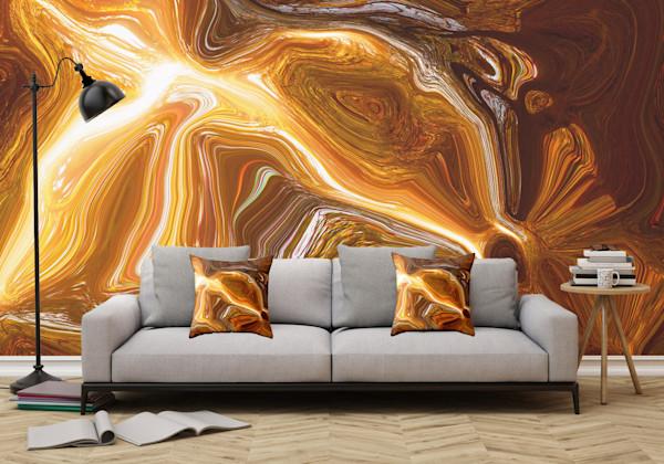 Earth Tones Digital Fluid Artwork Illustration Abstract Art, Digital Artwork - Decorative Wall Mural