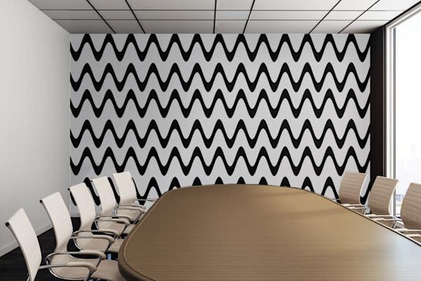 Zig Zag Horizontal Black and White Stripes Illustration Abstract Art, Digital Artwork - Decorative Wall Mural