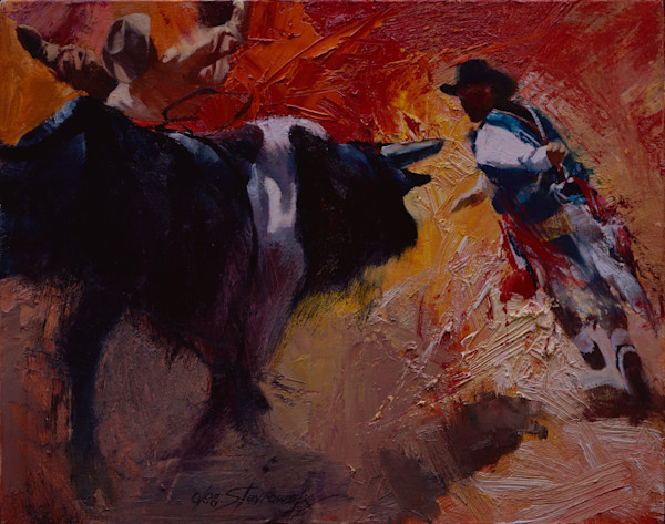 Bullrider with Rodeo Clown