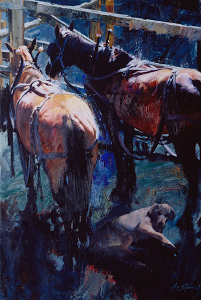 Draft Horses and Dog