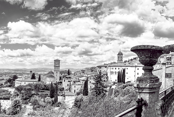 Art photography of Italy,  Assisi Italy Landscape Panorama bw