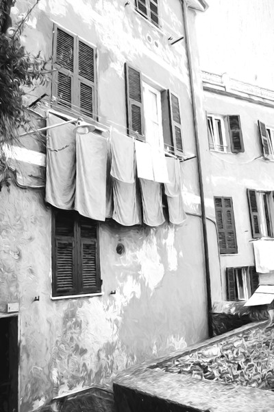 Art Photography of Cinque Terre, DSC_5634  Pink House Laundry Line  Manarola, Italy, bw
