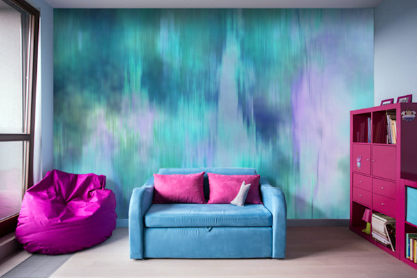 Teal Fusion Illustration Abstract Art, Digital Artwork - Decorative Removable Wall Mural