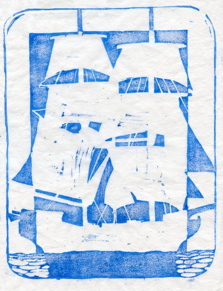 Sailing Ship Woodcut Print