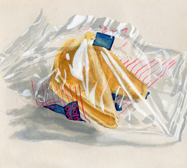 Fortune Cookie Watercolor Painting