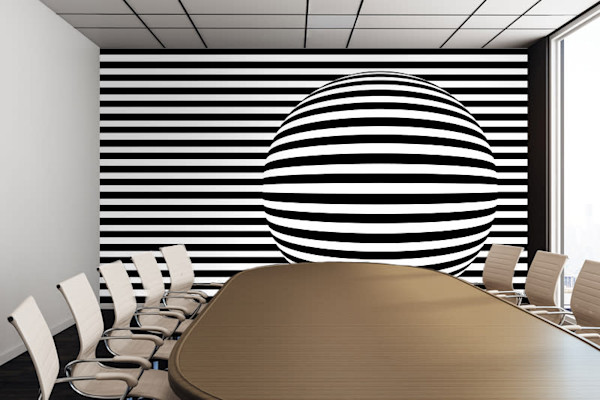 Black and White Stripes and Sphere Removable Wall Mural, Digital Artwork - Decorative Wall Mural