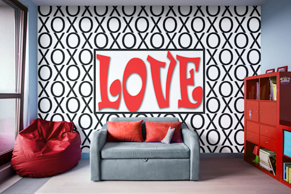 Love Xs and Os Removable Wall Mural Abstract Art, Digital Artwork - Decorative Wall Mural