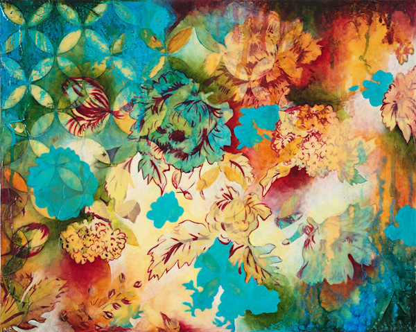 Arcs Floral 1, an original mixed media art painting by Heather Robinson