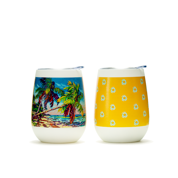Swaying Palms Wine Tumbler by Sally C. Evans Fine Art