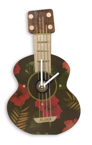 Ukulele Black Floral Mini Cutout Clock